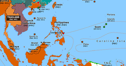 pacific battles map Battle Of Leyte Gulf Historical Atlas Of Asia Pacific 23 pacific battles map