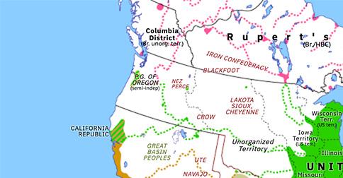 oregon country map 1846 Oregon Treaty Historical Atlas Of North America 15 June 1846 oregon country map 1846