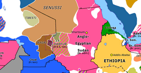 Political map of Northern Africa on 25 Oct 1903 (Scramble for Africa: Somaliland Campaign), showing the following events: Fall of Sokoto; Protectorate of Mauritania; Fourth Dervish Expedition.