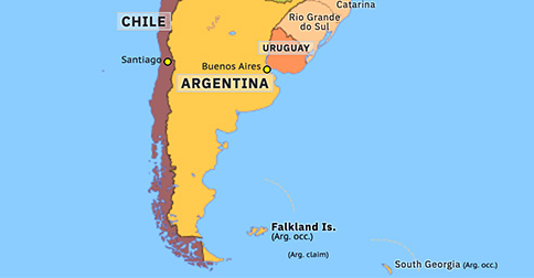 south america map falkland islands Falklands War Historical Atlas Of South America 3 April 1982