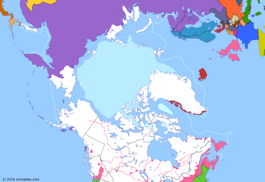 Political map of the Arctic & the Far North on 19 Jul 1862 (Partitioning the North Pacific: Gold Rushes in the Pacific Northwest), showing the following events: Acquistion of Primorye; Secession of South Carolina; Cariboo Gold Rush; Stikine Gold Rush; Stickeen Territories.