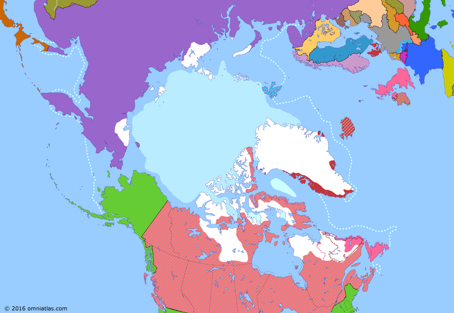 Political map of the Arctic & the Far North on 14 May 1926 (Claiming the Far North: Arctic Flights), showing the following events: Soviet Union suppresses All-Tungus Congress of the Okhotsk Coast; Svalbard Treaty effective; Franz Josef Land claim; Byrd's North Pole flight; Norge trans-polar flight.