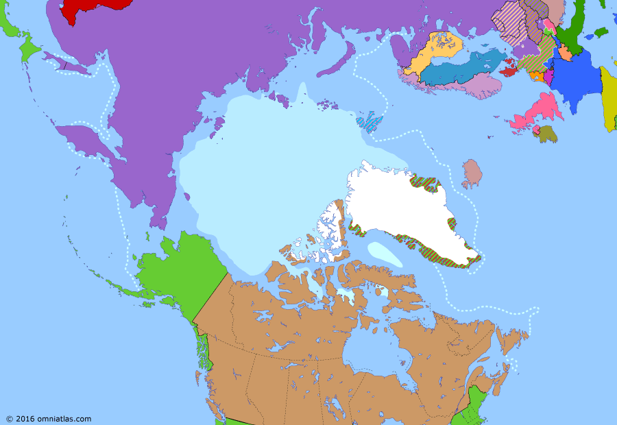 Political map of the Arctic & the Far North on 04 Apr 1949 (The Arctic Transformed: North Atlantic Treaty), showing the following events: Kuril Landing Operation; Occupation of Japan; German surrender on Svalbard; US bid to buy Greenland; Newfoundland Act; North Atlantic Treaty.