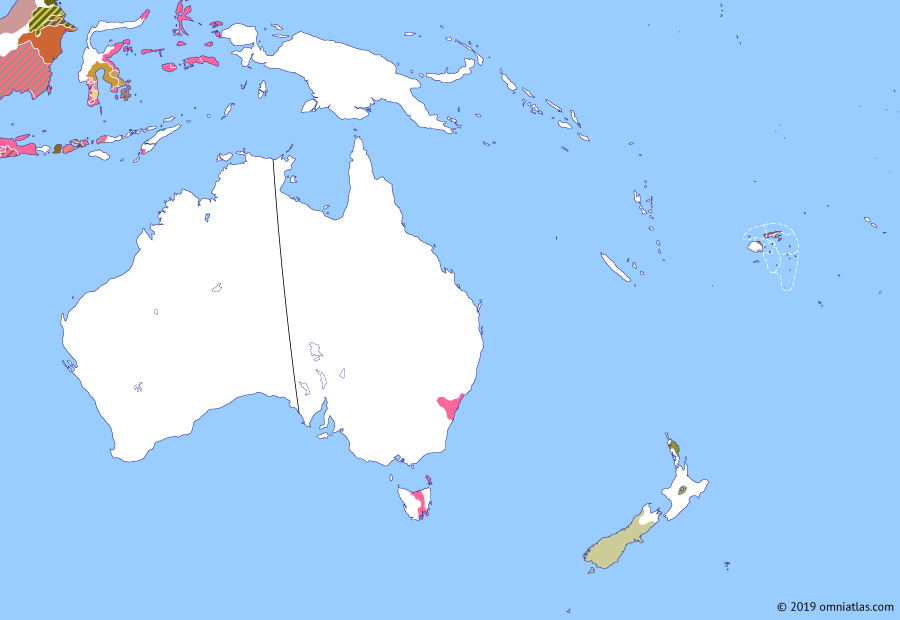 Political map of Australia, New Zealand & the Southwest Pacific on 07 May 1815 (The Australasian Colonies: Settling the Australian interior), showing the following events: British invasion of Java; British Banjarmasin; Crossing of the Blue Mountains; Driemanschap; Hawkesbury Nepean War; Mission to New Zealand; Anglo–Dutch Treaty of 1814; Founding of Bathurst.