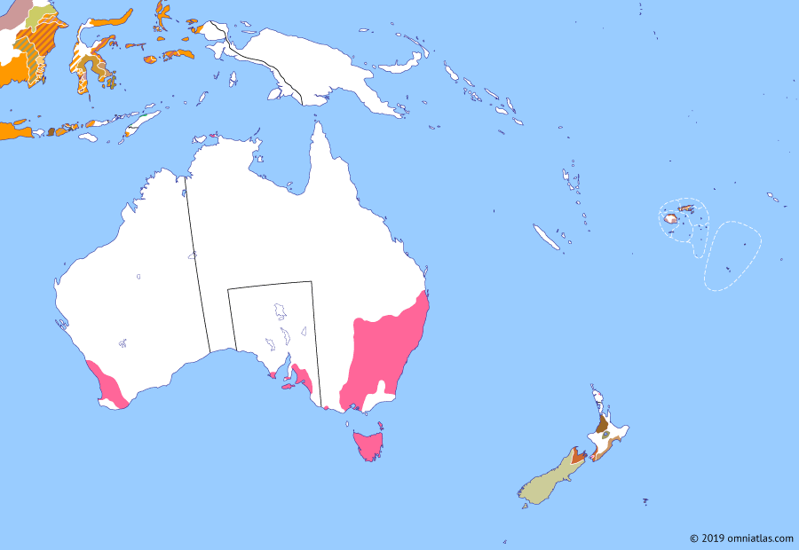 Political map of Australia, New Zealand & the Southwest Pacific on 06 Feb 1840 (The Australasian Colonies: Treaty of Waitangi), showing the following events: Waterloo Creek massacre; Jean Bart Incident; Myall Creek massacre; Eyre's expeditions; 1839 Letters Patent; Settlement of Cook Strait; Treaty of Waitangi.