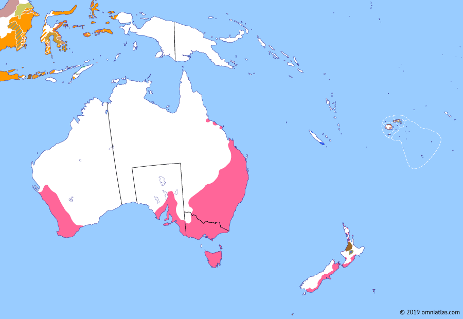 Political map of Australia, New Zealand & the Southwest Pacific on 03 Dec 1854 (The Australasian Colonies: Eureka Rebellion), showing the following events: Rise of Ma'afu; End of convict era in Tasmania; Colony of New Caledonia; Anglo-French entry into Crimean War; Eureka Rebellion.