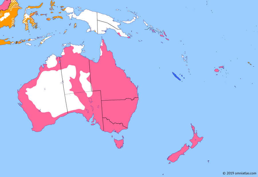 Political map of Australia, New Zealand & the Southwest Pacific on 15 Mar 1893 (Colonial Consolidation: Partition of the Solomon Islands), showing the following events: Gilbert and Ellice Islands Protectorate; Brisbane Black February flood; British Solomon Islands.