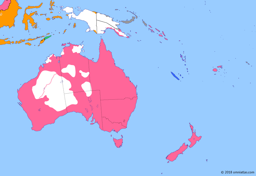 Political map of Australia, New Zealand & the Southwest Pacific on 04 Aug 1914 (Southern Dominions: Outbreak of the Great War), showing the following events: New Hebrides Condominium; Dominion of New Zealand; Canning Stock Route; Northern Territory Transfer; Naming of Canberra; British entry into World War I.