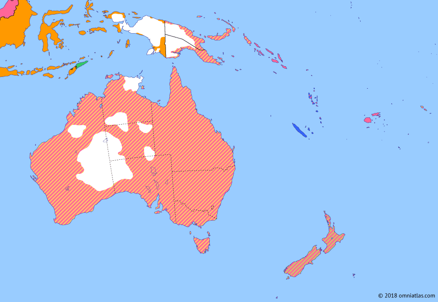 Political map of Australia, New Zealand & the Southwest Pacific 18 October 1928 (League of Nations Mandates): With the signing of Versailles (1919) (Treaty of Versailles), Australia and New Zealand became founding members of the League of Nations (League of Nations). The following year the League granted them mandates over the territories they had conquered from Germany (League of Nations mandate).