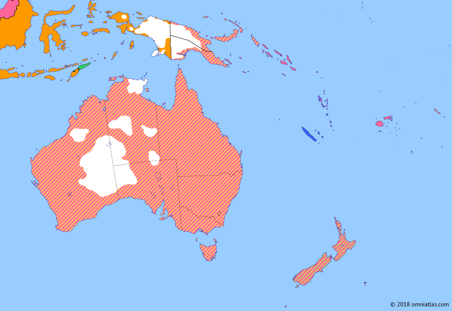 Political map of Australia, New Zealand & the Southwest Pacific on 11 Dec 1931 (Southern Dominions: Statute of Westminster), showing the following events: Wall Street Crash; Hawke's Bay earthquake; Reincorporation of Northern Territory; Statute of Westminster.