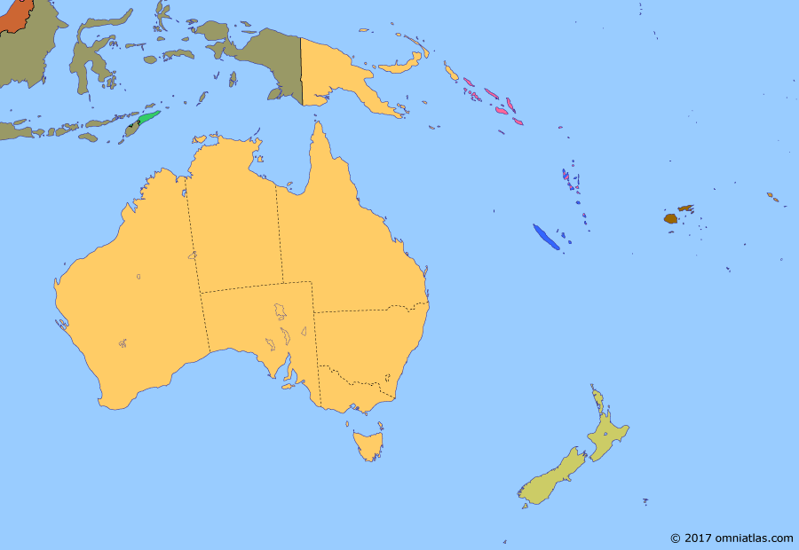 Political map of Australia, New Zealand & the Southwest Pacific on 02 Jul 1971 (Decolonization of the Pacific: Independence for the Pacific Islands), showing the following events: Konfrontasi; Cession of West New Guinea; Formation of Malaysia; Aboriginal Rights amendments; Independence of Nauru; Tongan Independence; Fijian Independence.