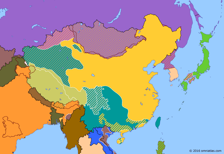 Political map of China, Japan, Korea, and Mongolia on 01 Oct 1949 (The Chinese Civil War: People's Republic of China), showing the following events: Creation of State of Vietnam; French Associated State of Laos; Lanzhou Campaign; People's Republic of China.