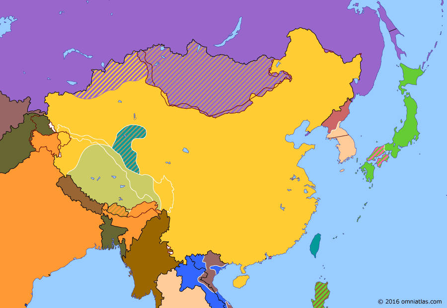 Political map of China, Japan, Korea, and Mongolia 19 October 1950 (Battle of Chamdo): The Kingdom of Tibet (Tibet (1912–1951)) had broken away from China in 1912. With the Civil War (Chinese Civil War) at an end, the People's Republic quickly moved to reassert Chinese authority. In a short campaign over the disputed Chamdo region (Invasion of Tibet (1950)), it forced Tibet to sue for peace. Mao (Mao Zedong) was now free to face the crisis in Korea (Korean War).