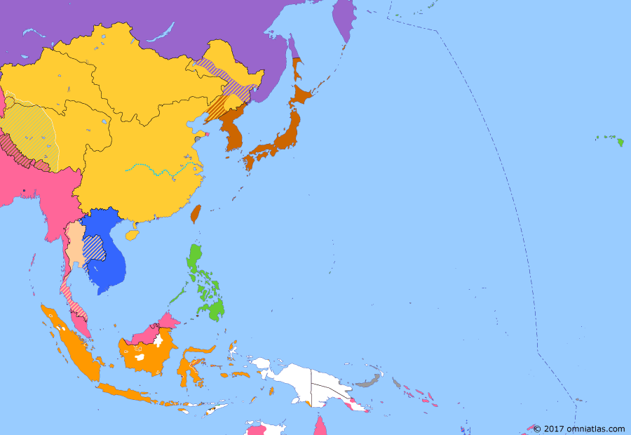 Political map of East Asia and the Western Pacific on 08 Apr 1907 (The Rise of Japan: Anglo-French Agreement on Siam), showing the following events: Treaty of Portsmouth; Eulsa Protection Treaty; Anglo-Chinese Convention; Anglo-French Agreement on Siam.