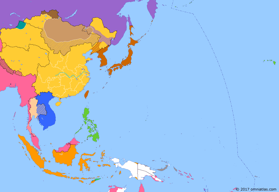Political map of East Asia and the Western Pacific on 10 Mar 1912 (Warlords and Revolutionaries: Yuan Shikai and the Republic of China), showing the following events: Republic of China; Abdication of Puyi; End of Qing rule in Tuva; Yuan Shikai becomes President.