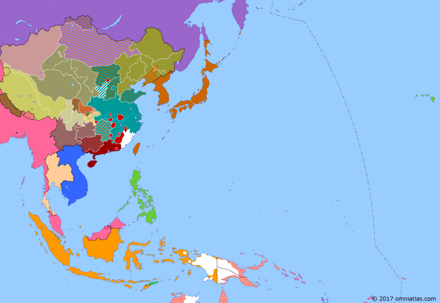 Political map of East Asia and the Western Pacific on 18 Sep 1931 (China's Nanjing Decade: Mukden Incident), showing the following events: Nationalist victory in Central Plains War; Fengtian clique takes Beiping in support of Chiang Kaishek's Nationalist regime; Condition for the Rendition of Weihaiwei; Chinese Nationalists begin their Encirclement Campaigns against the Communists