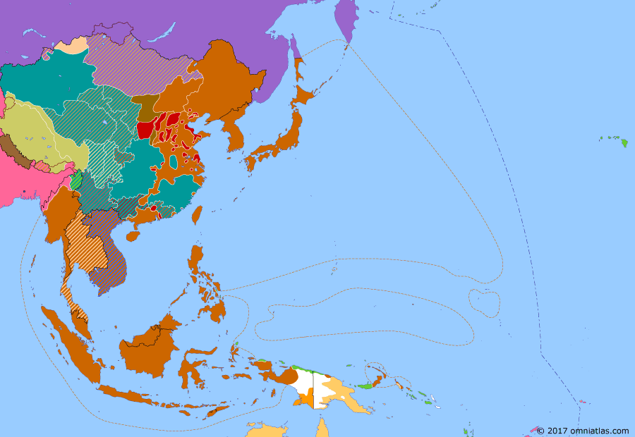 Political map of East Asia and the Western Pacific on 23 Oct 1944 (WWII: Victory Over Japan: Battle of Leyte Gulf), showing the following events: Battle of Guam; Battle of Tinian; Battle of Peleliu; US-led Allies captures Morotai; Soviet Union annexes Tuvan People's Republic; US forces land on Leyte Island; Battle of Leyte Gulf.