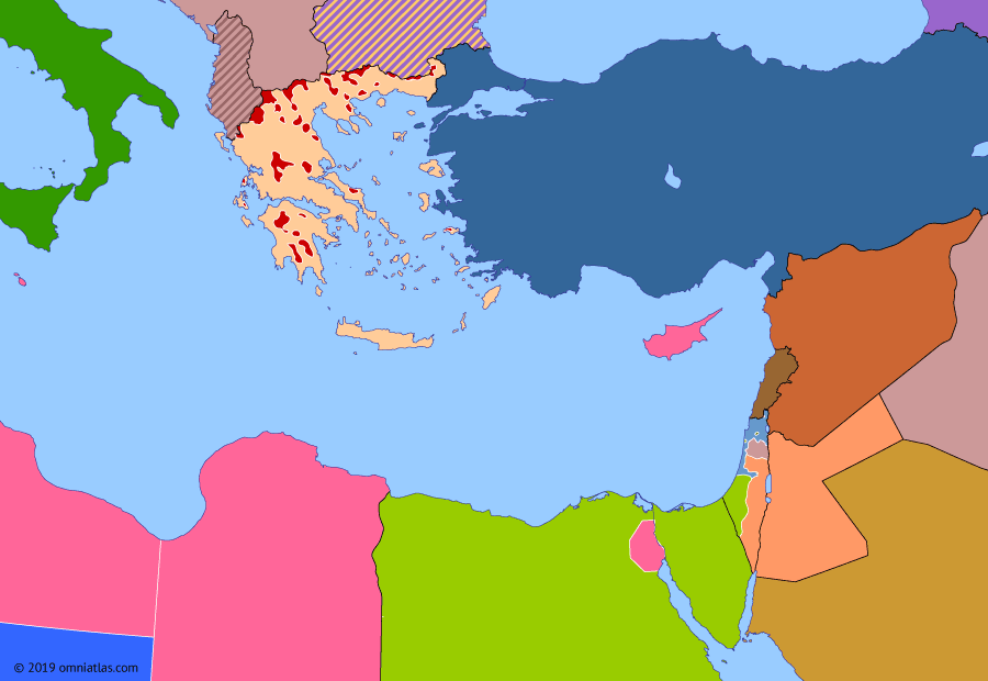 Political map of the Eastern Mediterranean on 11 Jun 1948 (The Arab–Israeli Wars: First Arab–Israeli War), showing the following events: Battles of the Kinarot Valley; Egyptian Negev Offensive; Battle for Jersualem; Iraqi offensive in Samaria; First UN Truce in Palestine.