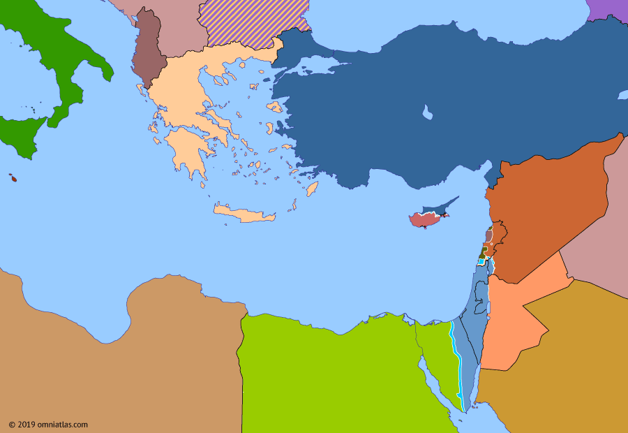 Political map of the Eastern Mediterranean on 22 Dec 1980 (After the Yom Kippur War: Battle of Zahlé), showing the following events: Islamist uprising in Syria; Soviet invasion of Afghanistan; 1980 Turkish coup; Iraqi invasion of Iran; Battle of Zahlé.