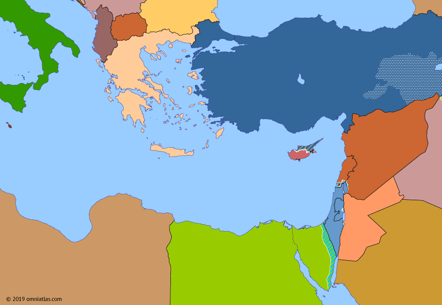 Political map of the Eastern Mediterranean on 18 May 1994 (After the Yom Kippur War: Palestinian National Authority), showing the following events: Dissolution of the Soviet Union; Oslo I Accord; Gaza–Jericho Agreement.