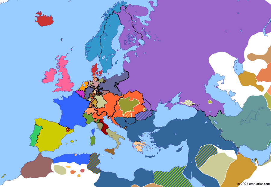 Political map of Europe & the Mediterranean on 19 Dec 1848 (The Springtime of Peoples: Rise of Napoleon III), showing the following events: Pius IX's flight from Rome; Abdication of Ferdinand I; Louis-Napoléon's election.