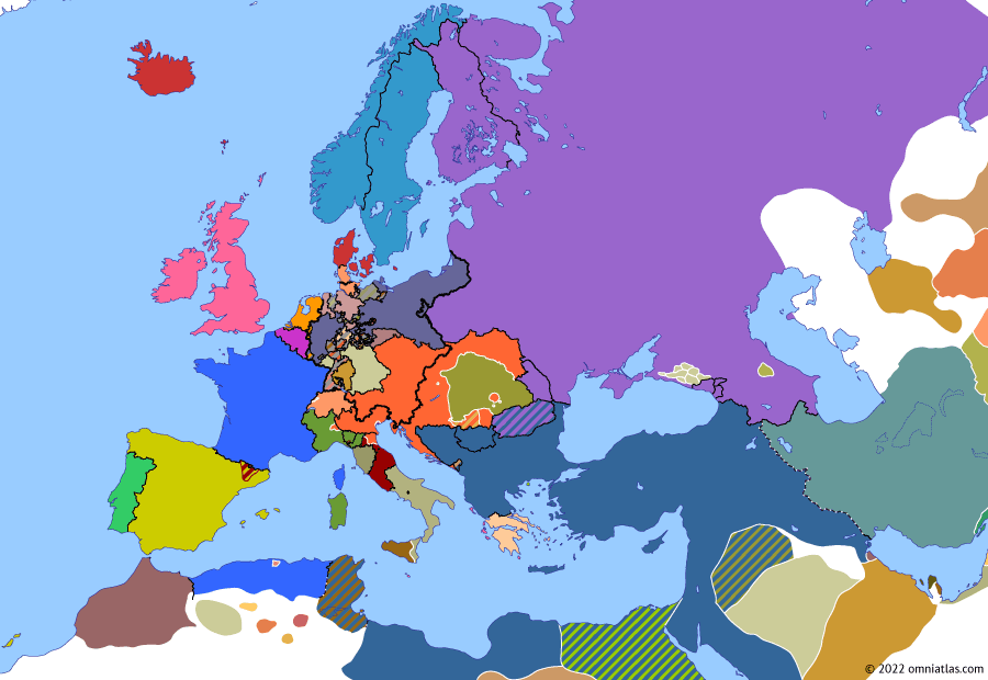 Political map of Europe & the Mediterranean on 14 Apr 1849 (The Springtime of Peoples: Hungarian War of Independence), showing the following events: Frankfurt Constitution; Frankfurt parliament elects Frederick William of Prussia as Emperor of Germans; Genoa Uprising; Tuscany recalls Grand Duke Leopold; Hungary declares independence.