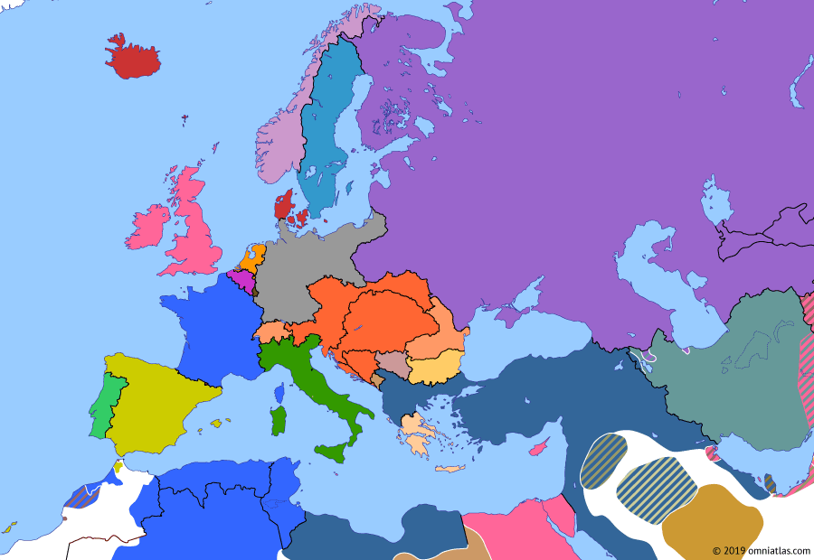Political map of Europe & the Mediterranean on 01 Jul 1911 (Imperial Europe: Agadir Crisis), showing the following events: British Navy Bill; 31 March Incident; Agadir Crisis begins; Agadir Crisis.
