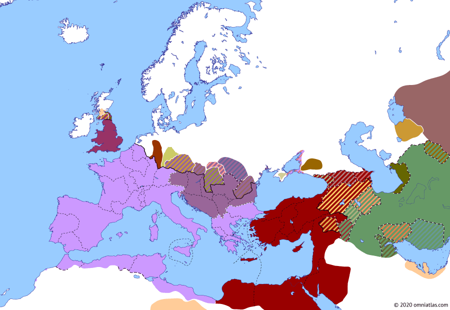 Political map of Europe & the Mediterranean on 19 Apr 193 (The Severan Dynasty: Year of the Five Emperors), showing the following events: Principate of Pertinax; Principate of Didius Julianus; Pescennius Niger; Septimius Severus; Clodius Albinus.