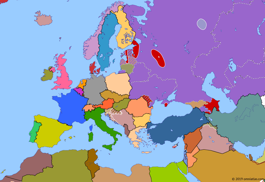 Political map of Europe & the Mediterranean on 19 Aug 1991 (Post-Cold War Europe: Soviet Coup Attempt), showing the following events: Brioni Agreement; Operation Stinger; Gorbachev's house arrrest; Soviet Coup Attempt.