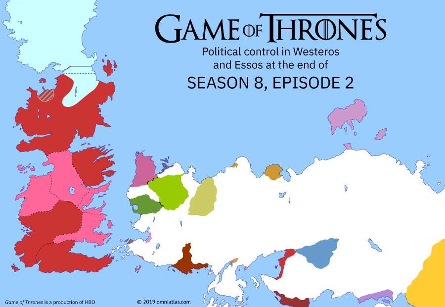 Political map of Game of Thrones on ? ?? 802 (Game of Thrones: A Knight of the Seven Kingdoms), showing the following events: White Walker advance.