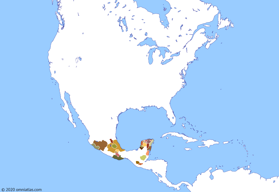 Political map of North America & the Caribbean on 10 Apr 1486 (Late Pre-Columbian Era: Aztec expansion), showing the following events: Tarascan expansion; Iroquois Confederacy; Flower Wars; Reign of Axayacatl; Kaqchikel Kingdom; Salitre War; Reign of Tizoc.