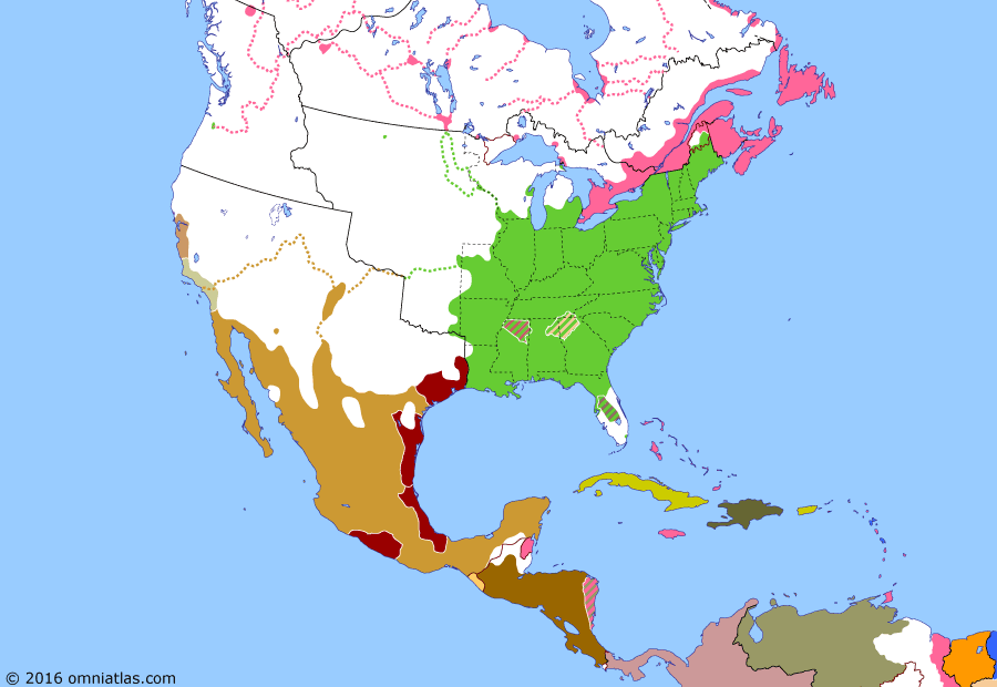 Political map of North America & the Caribbean on 12 Oct 1832 (Successors of New Spain: Trail of Tears), showing the following events: Choctaw removal; Nat Turner's Rebellion; Dissolution of Gran Colombia; Baptist War; Santa Anna's Insurrection; Two Governors of California; Creek removal; Black Hawk War; Treaty of Payne's Landing; Texas Revolution of 1832.