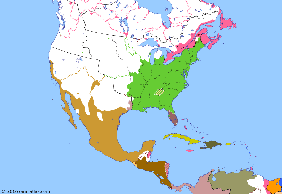 Political map of North America & the Caribbean 21 April 1836 (Texas Revolution): By the 1830s the Mexican border region of Texas (Mexican Texas) had become dominated by settlers from the neighboring US. When, in 1835, Mexican President Santa Anna (Antonio L%C3%B3pez de Santa Anna) revoked the 1824 Constitution (1824 Constitution of Mexico), Texas went into rebellion (Texas Revolution), declaring its independence (Texas Declaration of Independence) the following year. Santa Anna personally led the offensive to crush the rebels, only to be defeated and captured at San Jacinto (Battle of San Jacinto).