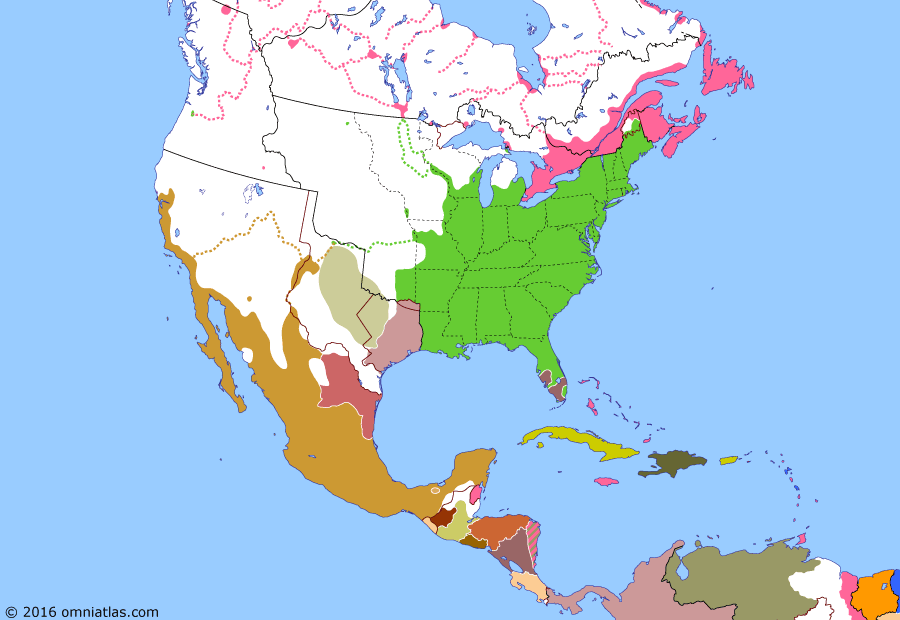 Political map of North America & the Caribbean on 26 Jan 1840 (Successors of New Spain: Centralist Mexico), showing the following events: Costa Rican Independence; Pastry War; British claim Bay Islands; Guatemalan Independence; Independence of Los Altos; Amistad Rebellion; Tabasco Revolution; Republic of Rio Grande declared.