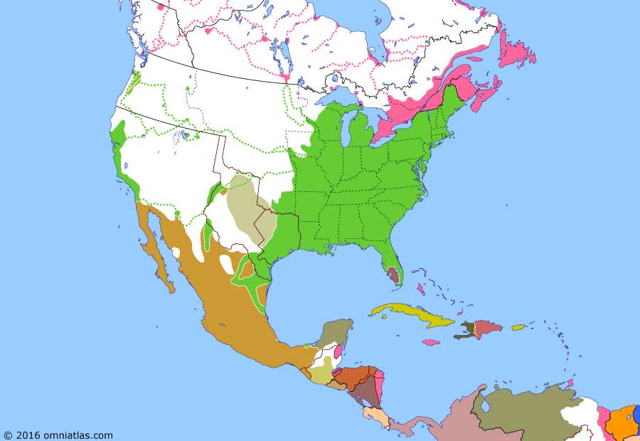 Political map of North America & the Caribbean on 09 Mar 1847 (Manifest Destiny: Siege of Veracruz), showing the following events: Mormon Battalion; Statehood for Iowa; Treaty of Cahuenga; Taos Revolt; Doniphan's March; Battle of Buena Vista; Siege of Veracruz.