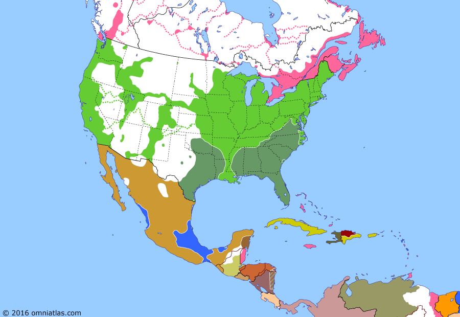 Political map of North America & the Caribbean on 20 Nov 1863 (American Civil War: Dominican Restoration War), showing the following events: Second Mexican Empire; New York draft riots; Long Walk of the Navajo; Santo Domingo revolts; Chattanooga Campaign; Gettysburg Address.