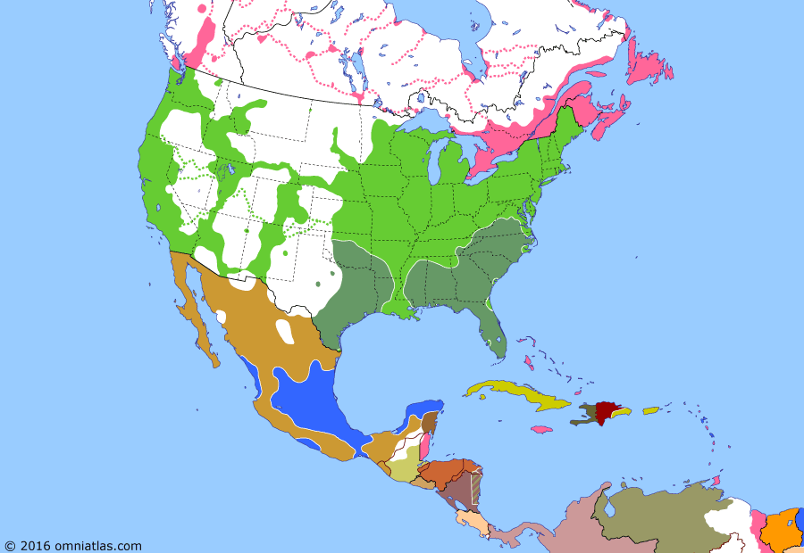 Political map of North America & the Caribbean on 12 Jun 1864 (American Civil War: Second Mexican Empire), showing the following events: All Union armies placed under Grant; Maximilian accepts Mexican throne; Atlanta Campaign; Grant's Overland Campaign; Montana Territory; Maximilian enters Mexico City.