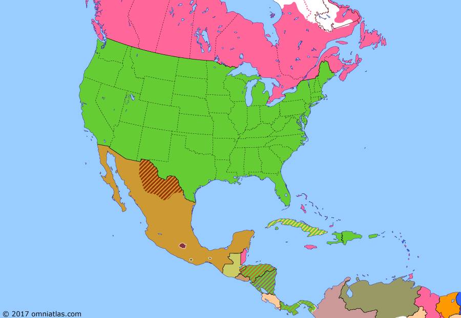 Political map of North America & the Caribbean on 06 Apr 1917 (American Empire: United States Enters the Great War), showing the following events: US occupation of the Dominican Republic; Treaty of the Danish West Indies; Germany announces resumption of unrestricted submarine warfare; Zimmermann Telegram; February Revolution; US declaration of war on Germany.