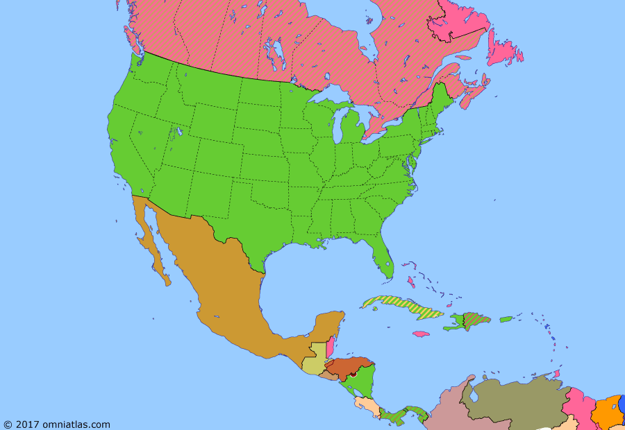 Political map of North America & the Caribbean on 29 Oct 1929 (American Empire: Wall Street Crash), showing the following events: End of Sugar Intervention; Halibut Treaty; De la Huerta's uprising; US withdraws from Dominican Republic; Hay-Quesada Treaty; US intervention in Nicaragua; Labrador settlement; Kellogg-Briand Pact; Wall Street Crash.