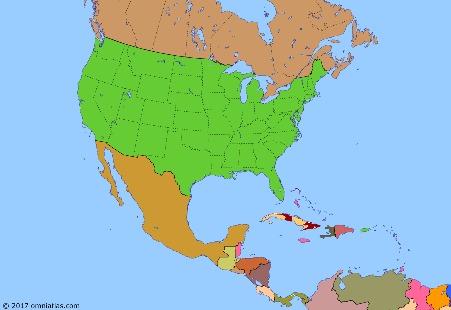 Political map of North America & the Caribbean on 01 Jan 1959 (American Superpower: Cuban Revolution), showing the following events: RDS-1; People's Republic of China; Korean War; Batista seizes power in Cuba; Civil Rights Movement; Castro arrives in Cuba on Granma; Sputnik; West Indies Federation; Operation Verano; Overthrow of Batista.