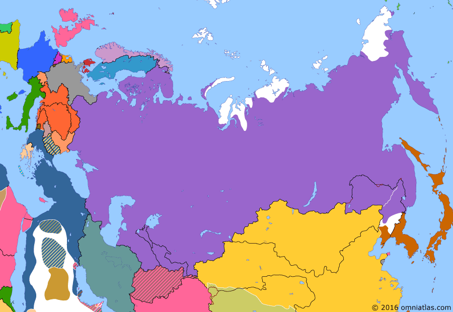 Political map of Russia & the former Soviet Union on 04 Sep 1905 (Late Tsarist Russia: 1905 Revolution), showing the following events: 1905 Russian Revolution; Norwegian independence; Mutiny on the Potemkin; Invasion of Sakhalin; Raid on Petropavlovsk.