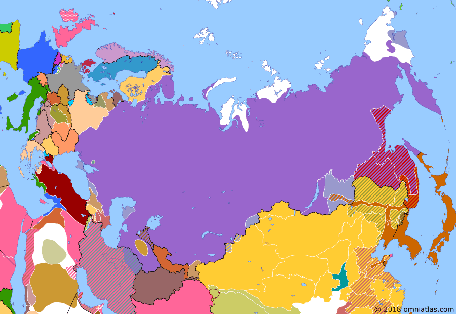 Political map of Russia & the former Soviet Union on 03 Apr 1920 (The Russian Civil War: The White Phase: Nikolayevsk Incident), showing the following events: Overthrow of the Khanate of Khiva; Treaty of Tartu between Soviet Union and Estonia; Admiral Kolchak executed by Bolshevik firing squad in Irkutsk; Provisional Government of Pribaikalia declared at Verkhneudinsk in Russian Far East.; Nikolayevsk Incident; Soviets capture Murmansk.