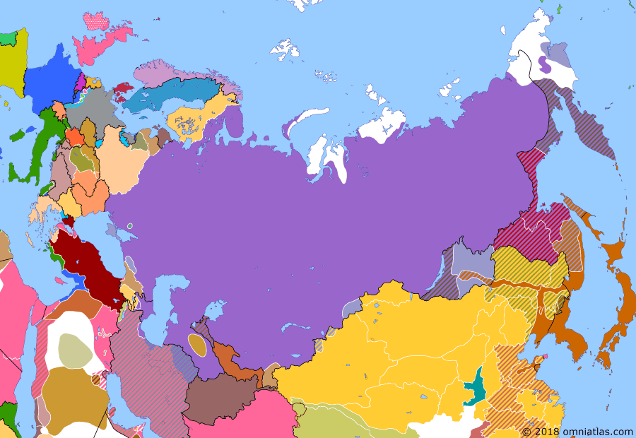 "Political map of Russia & the former Soviet Union on 19 May 1920 (The Russian Civil War: The White Phase: Creation of the Far Eastern Republic), showing the following events: Wrangel takes command of Armed Forces of Southern Russia, renaming them as ""Russian Army""; Japanese offensive in Russian Far East; Far Eastern Republic; Polish-Soviet War starts; Azerbaijan Soviet Conciliar Republic; Soviets in Gilan."