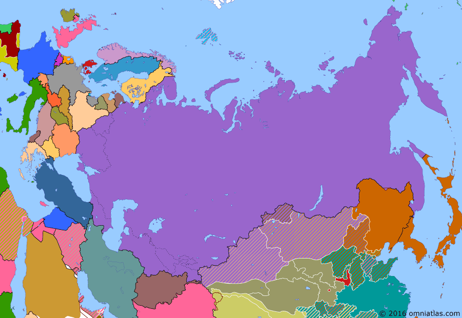 Political map of Russia & the former Soviet Union on 25 Nov 1936 (The Soviet Union under Stalin: Anti-Comintern Pact), showing the following events: Soviet famine results in millions of deaths, particularly in Ukraine and Volga region; Chancellor Adolf Hitler; Soviet invasion of Xinjiang; Great Purge; Spanish Civil War starts; Germany and Japan sign Anti-Comintern Pact.