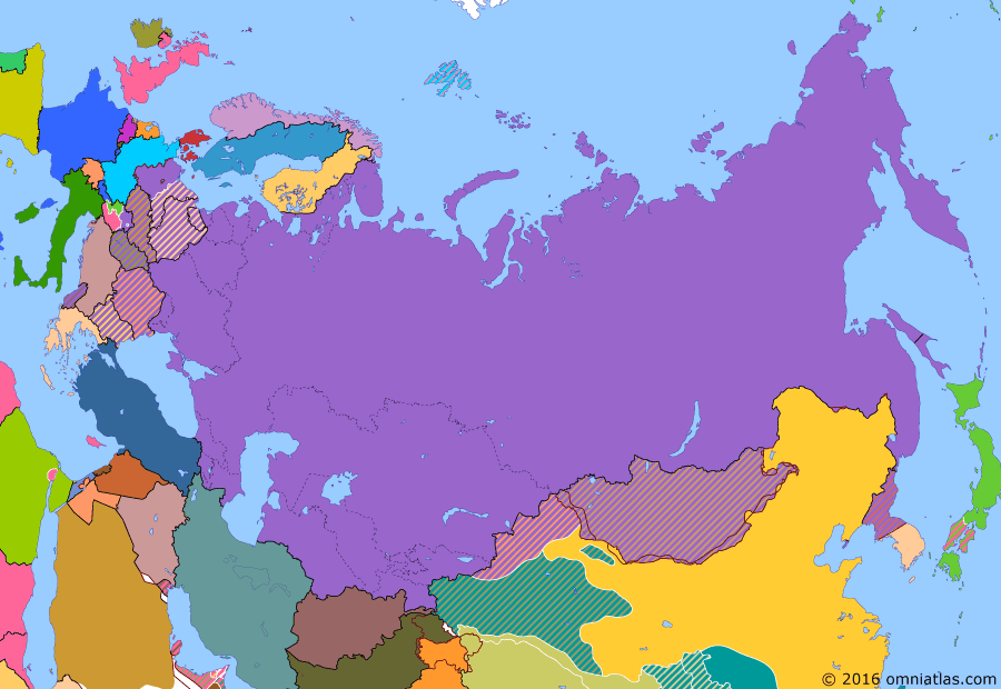 Political map of Russia & the former Soviet Union on 08 Oct 1949 (Soviet Superpower: NATO and the Two Germanys), showing the following events: First Republic of South Korea; Democratic People's Republic of Korea; North Atlantic Treaty; German Federal Republic; RDS-1; People's Republic of China; Democratic Republic of Germany established.