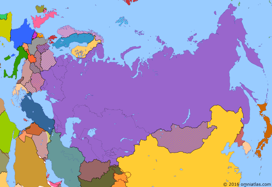 Political map of Russia & the former Soviet Union on 26 Jun 1963 (Soviet Superpower: Height of the Cold War), showing the following events: Return of Dairen; Karelo-Finnish SSR abolished; Soviet-Japanese Joint Declaration; Suez Crisis; Hungarian Revolution; Sputnik; Berlin Wall; Cuban Missile Crisis; China-Mongolian Border Treaty.