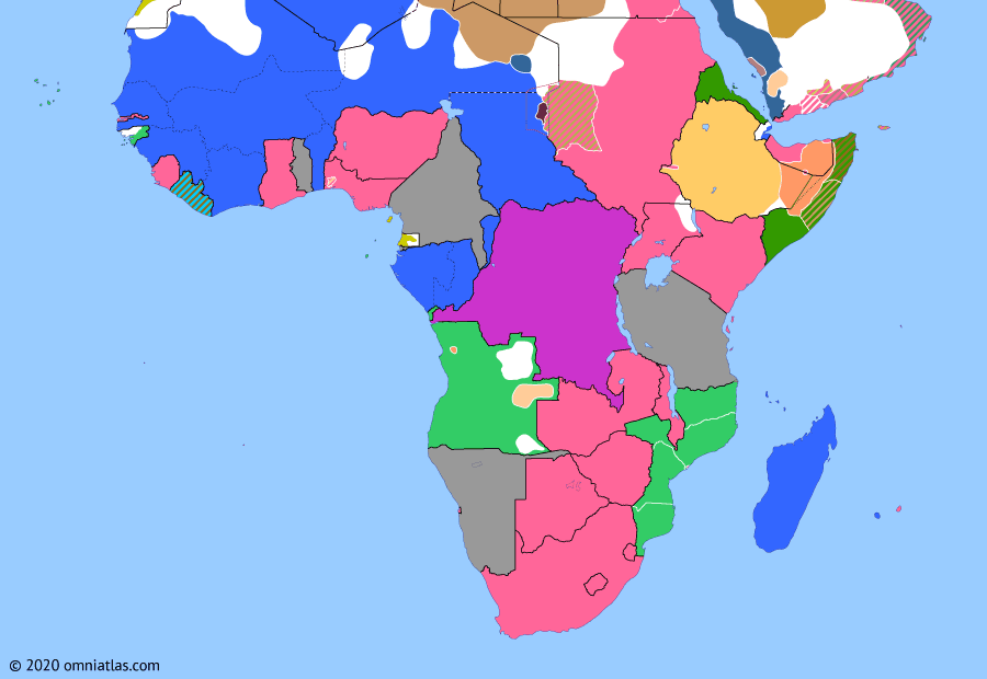 Political map of Sub-Saharan Africa on 14 Mar 1913 (The Scramble for Africa: French invasion of the Tibesti), showing the following events: Liberian Loan Agreement; Treaty of Fez; Ottoman evacuation of Tibesti; Treaty of Ouchy; French invasion of the Tibesti.
