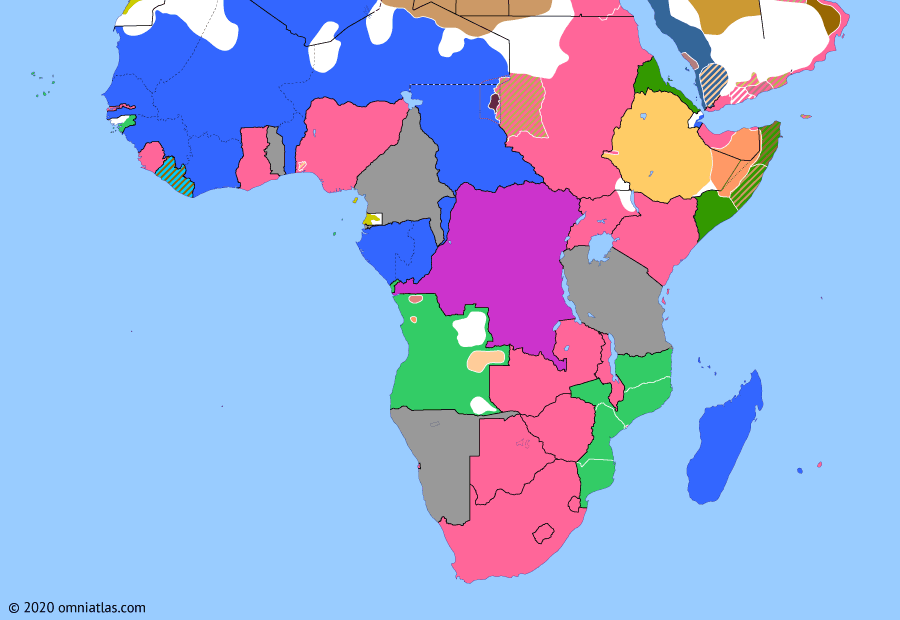 Political map of Sub-Saharan Africa on 01 Jan 1914 (The Scramble for Africa: Amalgamation of Nigeria), showing the following events: Anglo-Ottoman Convention; Ratification of Treaty of Daan; Kongo uprising; Amalgamation of Nigeria.
