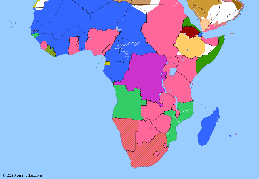 Political map of Sub-Saharan Africa on 27 Apr 1929 (Africa between the World Wars: Trans-African Routes), showing the following events: Firestone Concession Agreement; Anglo-Italian Notes on Ethiopia; Compagnie Générale Transsaharienne; Belgian-Portuguese Agreement; Trans-African Railway; Kongo-Wara Rebellion; Gugsa Wale's rebellion.