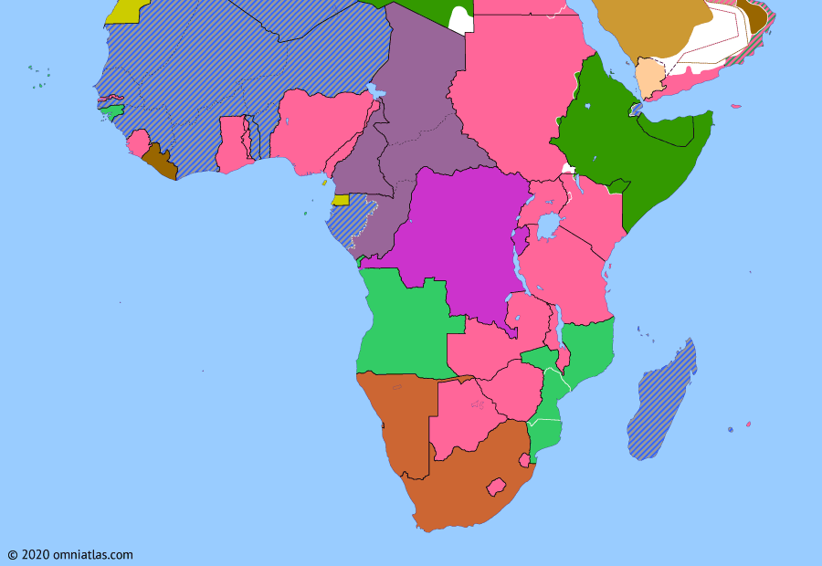 Political map of Sub-Saharan Africa on 25 Sep 1940 (World War II in Africa: Debacle at Dakar), showing the following events: Free French Chad; Free French Cameroun; Free French Congo; Free French Ubangi-Shari; Italian invasion of Egypt; Battle of Dakar.
